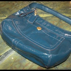 NWOT! Coach Hobo Blue Patent Leather Purse.